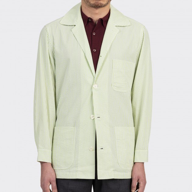 Summer Jacket Seersucker : Vert Clair/Blanc