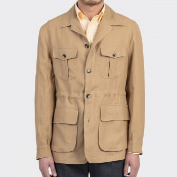 Linen Safari Jacket : Biscuit