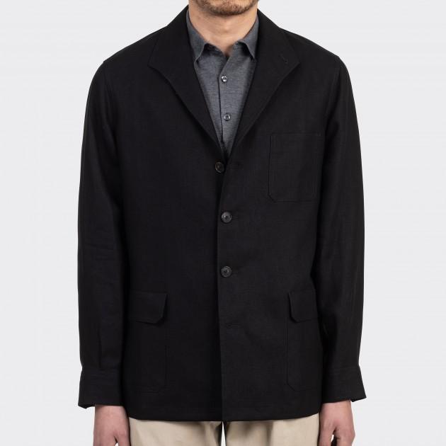 """""""Huddersfield"""" Linen Teba Jacket : Black"""