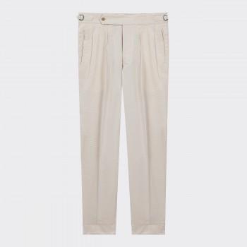 Pantalon Seersucker Coton & Soie: Écru