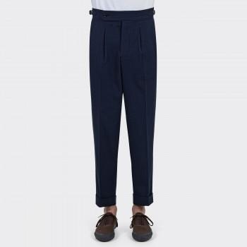 Pantalon Seersucker Coton & Soie: Marine