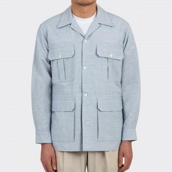Veste Safari Coton & Lin Texturé : Bleu Glacier