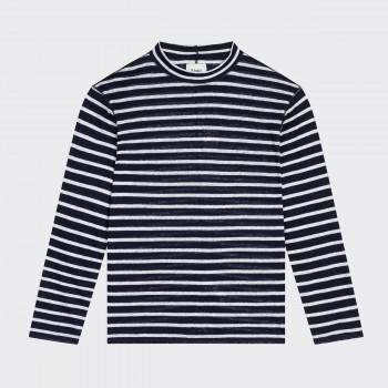 T-shirt Col Cheminé en Lin: Marine/Blanc