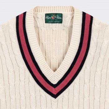 """Pull """"Cricket"""" en Coton : Écru/Marine/Rouge Vermeil"""