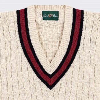 """Pull """"Cricket"""" Coton Sans Manches :Écru/Marine/Rouge"""