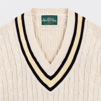 "Pull ""Cricket"" en Coton : Écru/Marine/Jaune"