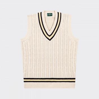 "Pull ""Cricket"" Coton Sans Manches:Écru/Marine/Jaune"