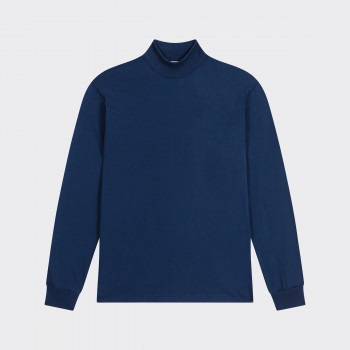 Mock Neck Light T-shirt : Navy
