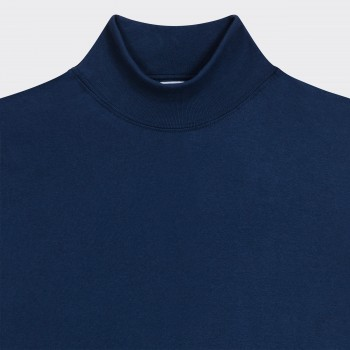 T-Shirt Fin Col Cheminée : Marine