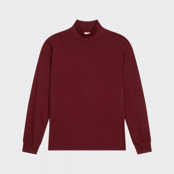 Mock Neck Light T-shirt: Crimson Red