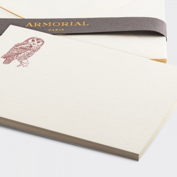 Cartes Et Enveloppes Chouette : Crème