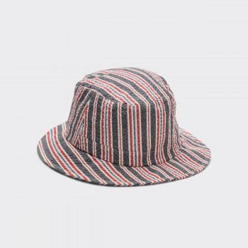 Striped Seersucker Bucket Hat : White/Navy/Red
