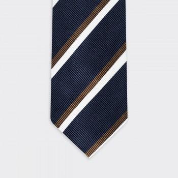 Regimental Tie : Navy/Brown/White