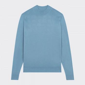 Pull Col Cheminée Laine Mérinos : Bleu Poudré
