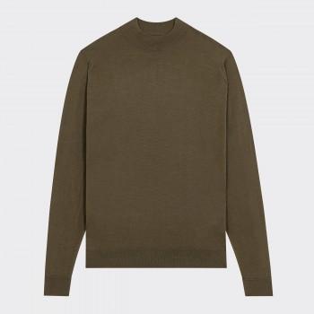 Merino Wool Mock Neck Sweater : Olive Green