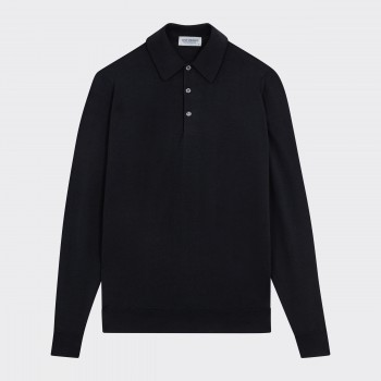 Merino Wool Long Sleeves Polo Shirt : Black