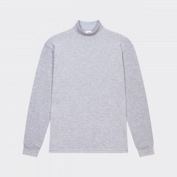 T-Shirt Fin Col Cheminée : Gris