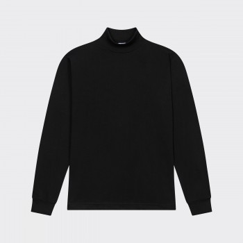 T-Shirt Fin Col Cheminée : Noir