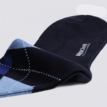 Chaussettes Courtes Argyle en Cotton : Marine/Bleu