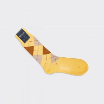 Cotton Argyle Short Socks : Butter Yellow/Brown