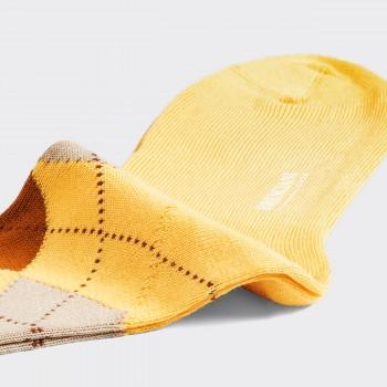 Chaussettes Courtes Argyle en Cotton : Beurre Frais/Marron