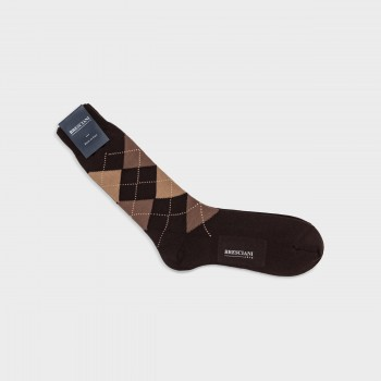 Cotton Argyle Short Socks : Brown/Beige