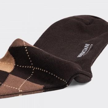 Chaussettes Courtes Argyle en Cotton : Marron/Beige