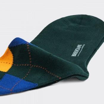 Chaussettes Courtes Argyle en Cotton : Vert/Jaune/Bleu