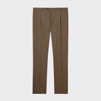 Pantalon à Pinces Twill de Laine : Beige