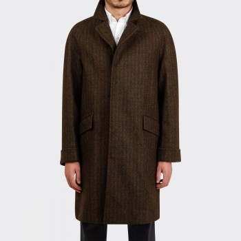 """CORB"" Chevron Tweed Coat : Dark Brown"