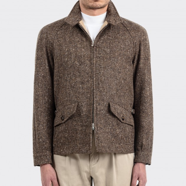 Wool Donegal Golfer Jacket : Brown