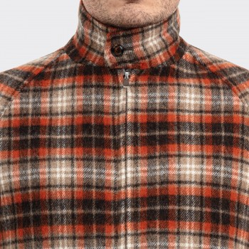Wool Checked Golfer Jacket : Brown/Orange/Beige