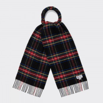 Wool Tartan Scarf : Black Stewart