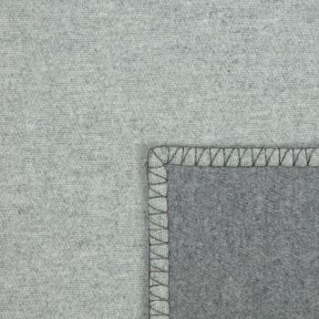Large Plaid Réversible Laine et Cachemire: Gris/Gris Clair
