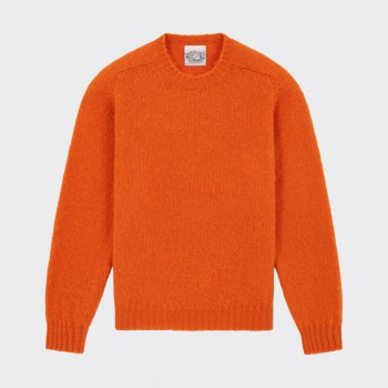 Pull Col Rond Laine Peignée : Orange