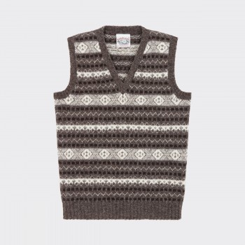 Fair Isle Knit Vest : Grey