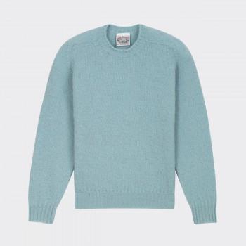 Brushed Wool Crewneck Knit : Ice Blue