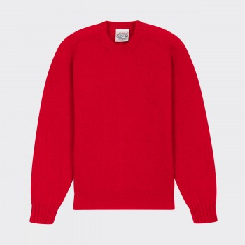 Brushed Wool Crewneck Knit: Red