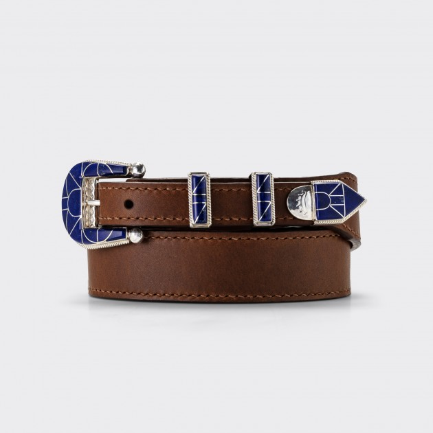 Ranger Belt Amérindienne en Lapis-Lazuli : Marron