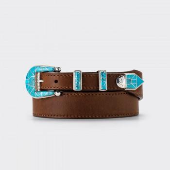 Ranger Belt Amérindienne en Turquoise : Marron