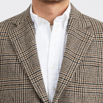 Veste Glen Check en Laine : Marron/Beige