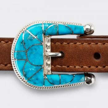 "Ranger Belt Amérindiennes en Turquoise ""Blue Thunder"" : Marron"