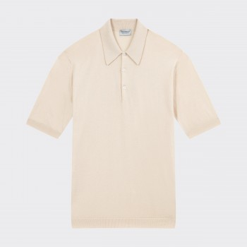 Short Sleeves Cotton Polo Shirt : Cream