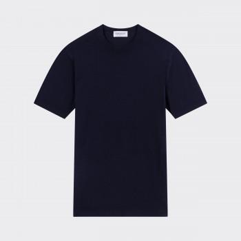 T-shirt Coton Texturé : Bleu Marine