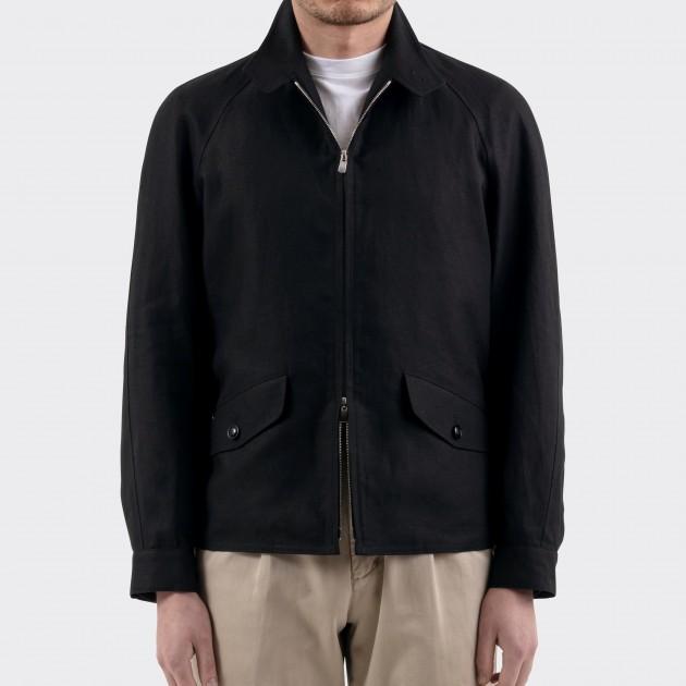 Linen Golfer Jacket : Black