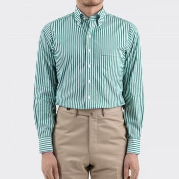 Chemise Col Boutonné à Rayures : Vert/Blanc