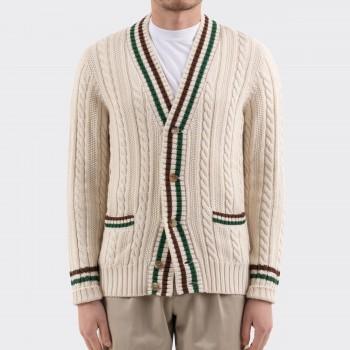 Cotton-Cashmere Cricket Cardigan : Ecru