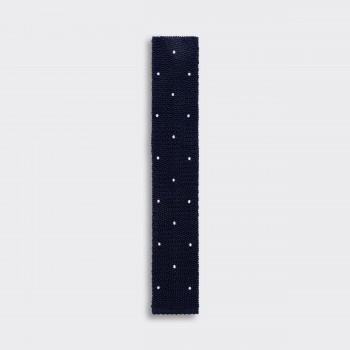 Cravate Tricotée à Pois : Marine/Blanc