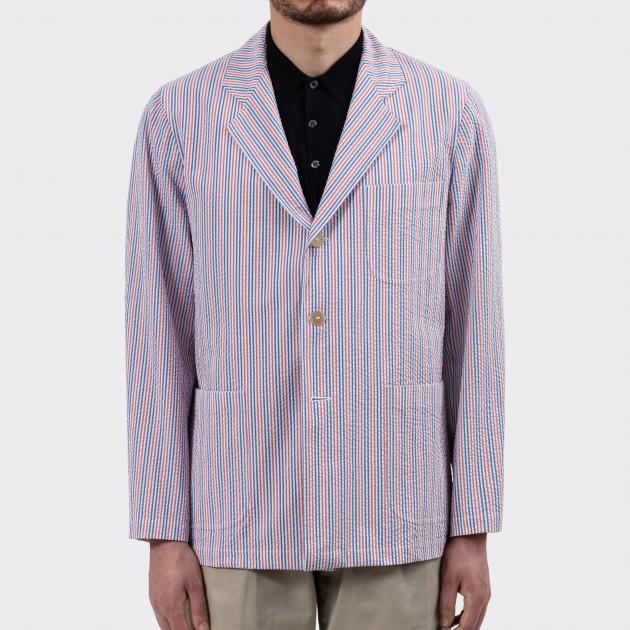 "Sofá Jacket ""Solbiati"" Seersucker : Blanc/Rouge/Bleu"