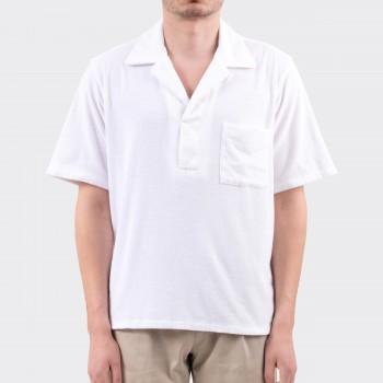 Polo Col Ouvert en Éponge de Coton & Lin: Blanc